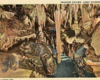 Vintage Postcard, Princess Column, Luray Caverns, VA