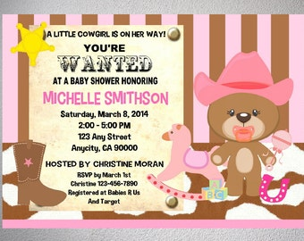 Western Cowgirl Baby Shower Invitation, Printable Western Cowgirl, Wanted  Poster, Teddy Bear Baby