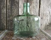 Rustic Vintage French Green Glass Demi John DemiJohn Large Wine Bottle