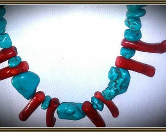 Necklace, red and turquoise