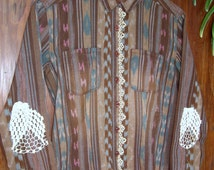 Womens Aztec Long Sleeved Button Down with Hand Tatted Lace Embellishments on Front & Crocheted Elbows