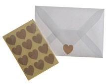 Set of 36 Heart Stickers, Heart stickers, kraft hearts, Kraft stickers, Stickers
