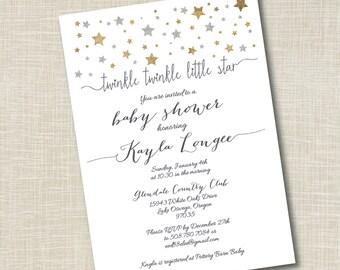 Twinkle Twinkle Baby Shower Invitation, Twinkle Twinkle Little Star, DIY Printable Baby Shower, DIY, Yellowdotpaper