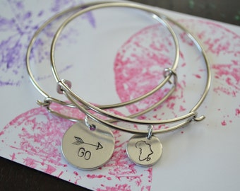 ALUMINUM Custom Metal Stamped Bangle Bracelet //