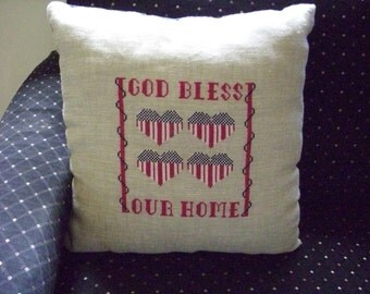 God Bless Our Home Cross Stitch Hand Made Pillow