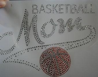 "Basketball Mom Rhinestone Tee Shirt 8"" x 6"""