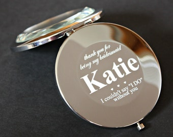 Set of 5 - Bridesmaid Gift - Personalized Compact Mirror - Engraved with Name - Personalized - Engraved