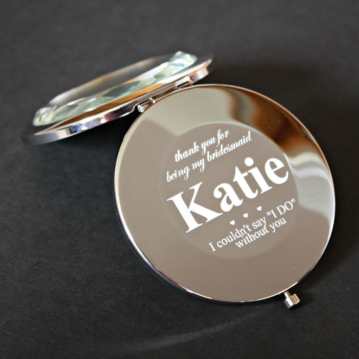 bridesmaid gift personalized compact mirror engraved with. Black Bedroom Furniture Sets. Home Design Ideas