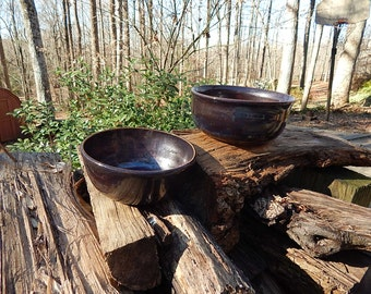 Set of Copper-colored Nesting Ceramic bowls
