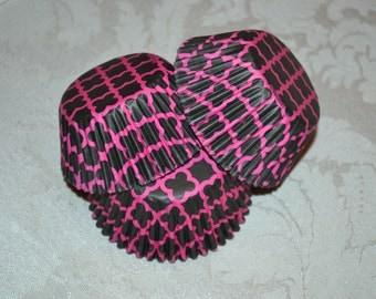 75 Black and Pink Cupcake Liners/Cupcake Liners