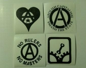4 Decal set: Assorted Anarchy Symbols Vinyl Decals