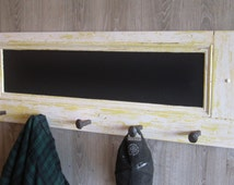 Reclaimed Wood Coat Rack and Chalkboard with Rail Road Spikes