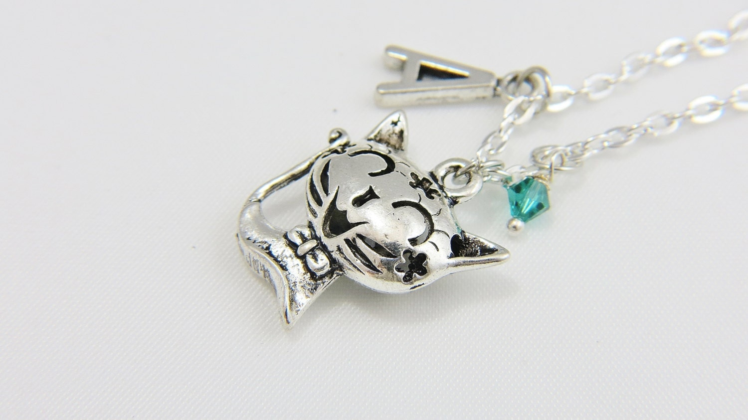 silver cat necklace cat jewelry cat charm necklace by
