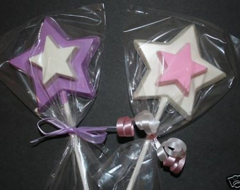 20 Chocolate MAGIC WANDS Lollipop Party Favors