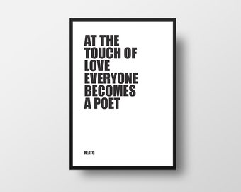Love Quote, Plato, Poet and Love, Philosophy,  Motivational Print, Typographic Print, Inspirational Poster, Literary Poster