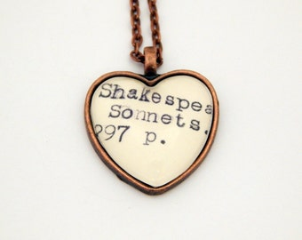 Shakespeare jewelry, Shakespeare sonnets necklace, library book jewelry, poetry necklace, English teacher gift, literature jewelry