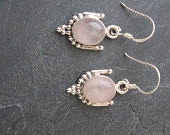 Rose Quartz Earrings set in sterling Silver