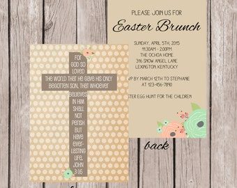 PRINTABLE- Easter Cross Invitation- Easter Invitation- Easter Invite- 5x7 JPG