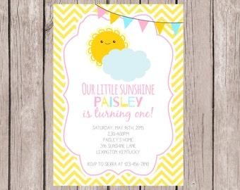 PRINTABLE- You Are My Sunshine Birthday Invite- Sunshine Birthday Invite- First Birthday Invite- Birthday Invite- 5x7 JPG