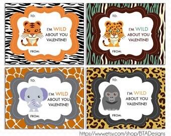 "Printable ""Wild Animal"" Valentine Cards for Kids - Instant Download"