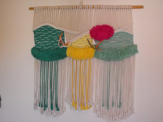 Art culos similares a tapiz de macrame en etsy - Tapices de macrame ...
