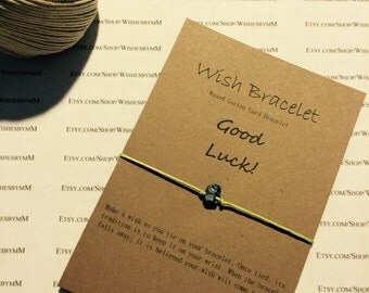 Wish Bracelet made from 12in Waxed Cotton Cord -with personalized 4.5 x 3.5 Kraft Stock Paper - FAVORS - GIFTS