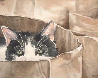 Cat Hiding in Paper Bag, Watercolor, Giclee Print, Kitchen Decor, Rescue Cat Art