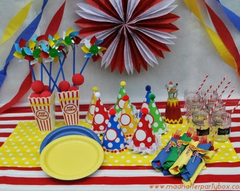 Carnival Party Supplies Box For 8: Carnival Party Supplies, Circus Party Centerpieces, Flatware, Cups, Plates and Carnival Hats