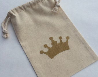 Princess Party Treat Bags: Pink or Gold Glitter Crown Muslin Bags - Princess Favor Bags - Cinderella Favor Bag