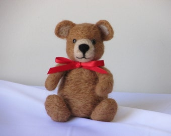 Light brown Teddy Bear with red Satin Ribbon