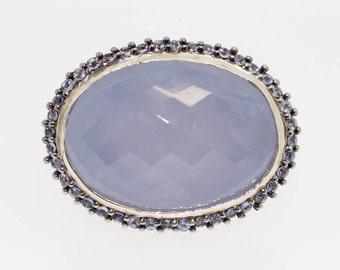925 Blue Chalcedony / Tanzanite Ring