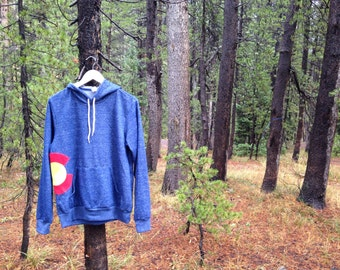 Colorado Flag Hoodie/Hooded Sweatshirt (Emblem from repurposed materials)