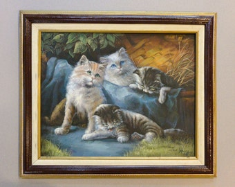 Four Kittens - Original Hand Painting on Canvas