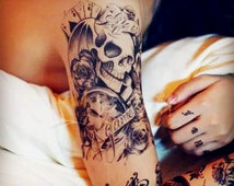 temporary tattoo large  big colorful Skullcandy Skull crossbones skull human skeleton fake body art pattern arm vintage forearm stickers