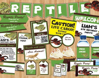 PDF format-Instant Download-Reptile Party pack-complete party printable-Personal use Only-digital file