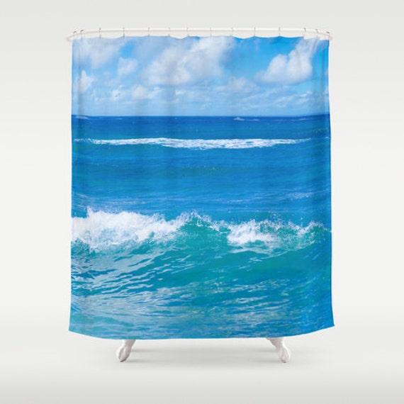 ocean Shower Curtain, deep ocean blue, bathroom, sky, Tropical shower ...