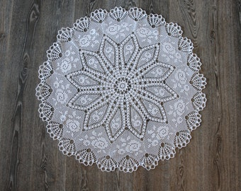 Large White Lace crochet doily tablecloth