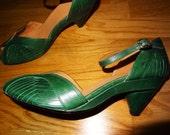 Adorable FRYE Beautiful Green Peeptoe Slingbacks Shoes Pinup Rockabilly 7.5B