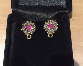 Costume Gold/Ruby Stud Earrings