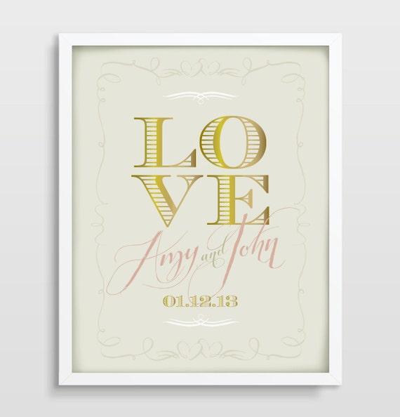 Wall Art With Wedding Date : Love wall art bridal shower wedding anniversary by p creative