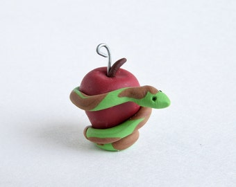 Serpent and Forbidden Fruit Ornament -- Miniature Polymer Clay Jesse Tree Ornament -- The Fall