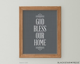 God Bless Our Home Quote, Grey and White Wall Decor, God Bless Our Family Print, Typography Art, Typographic Print
