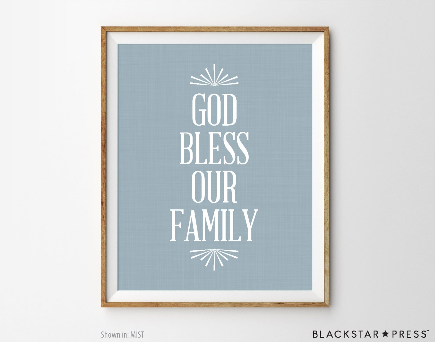 God bless our family print home decor print typography art for Our home decor