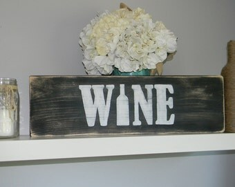 Distressed Wooden Wine Sign