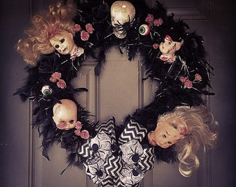 Custom creepy halloween wreath