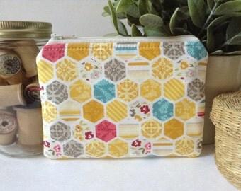 Small Zipper Bag, Zipper Pouch, Makeup Bag, Cosmetics Case, Clutch Purse, Knitting Notions Bag, Gadget Case, Hexagons in Yellow, Aqua & Red