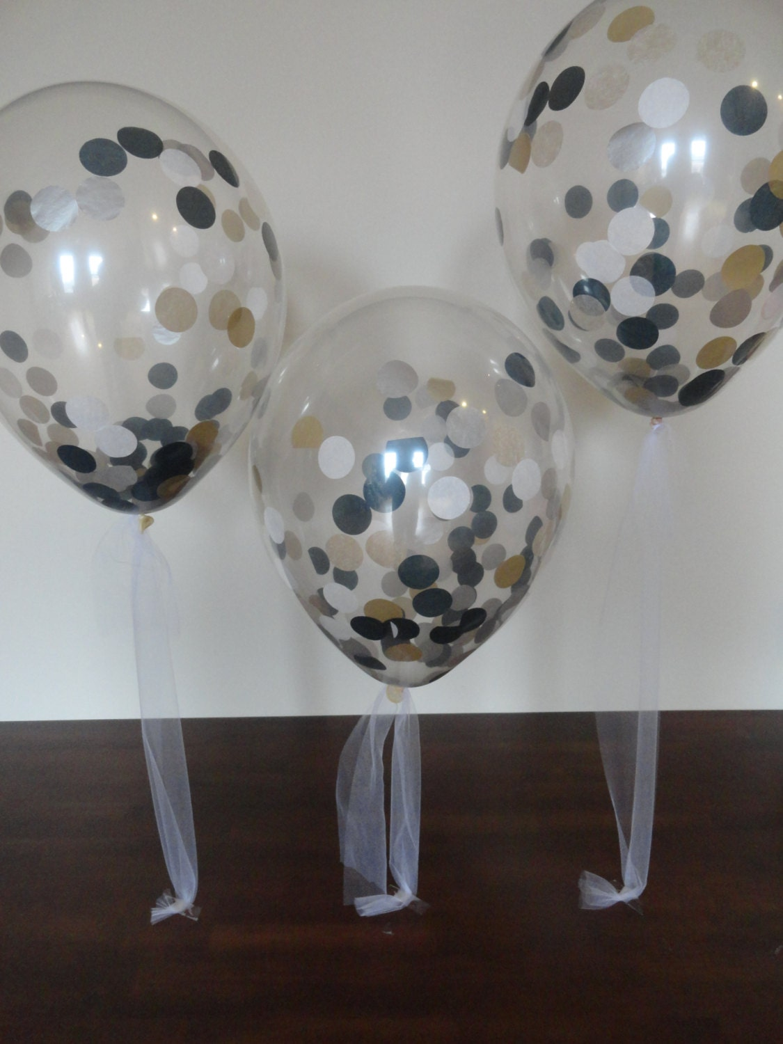 3 6 or 10 count large 16 confetti balloons with white - Black silver and white party decorations ...