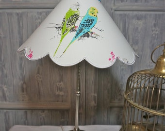 BUDGERIGAR LAMPSHADE, 50's, Tropical BIRDS