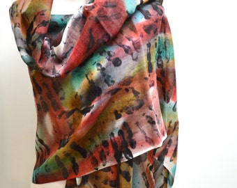 Silk and Wool Scarf / Handpainted Scarf / Winter Scarf