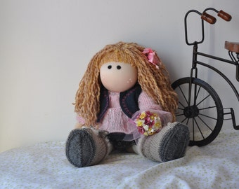 Willow is a 16 inch handcrafted Waldorf/Tilda/Rag style cloth doll